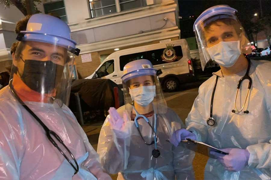 Three doctors on the street